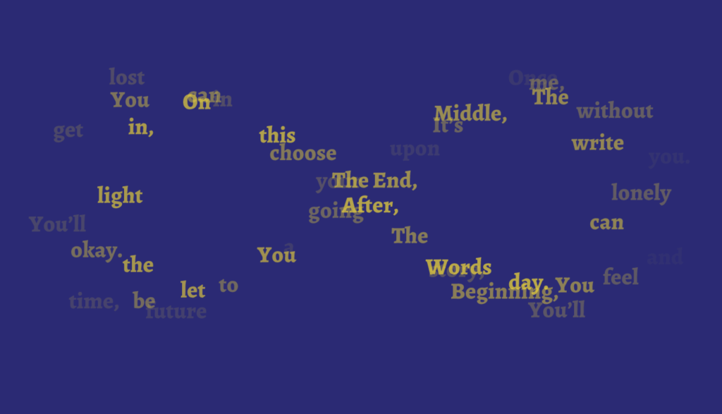 A screen capture of the infinity poem as an infinity loop